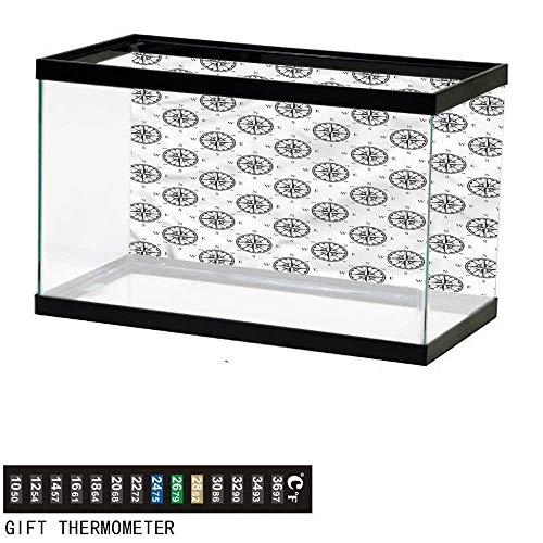 bybyhome Fish Tank Backdrop Compass,Ancient Pathfinding Theme,Aquarium Background,24