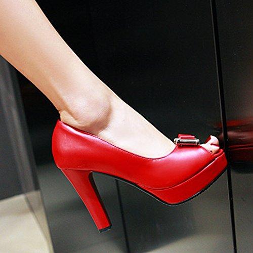 Work Womens High Platform To Shoes Easemax Chunky Office Slip On Heels Toe Bows Wear Dressy Pumps Red Peep BgxvU