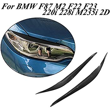 Jcsportline fits for BMW F87 M2 F22 F23 220i 228i M235i M Sport 2D Front Head Lamps Cover Eyelid Light Eyebrows Coupe Convertible 2014-2018 (Dry Carbon)