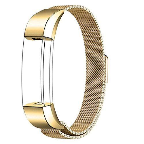 KingWo for Fitbit Flex 2 Wristband/Fitbit Flex Band/Fitbit Flex Bracelet/Fitbit Flex Replacement Band-Milanese Magnetic Loop Stainless Steel Mesh Loop Bracelet (Gold)