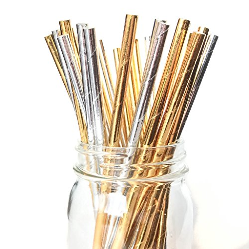 Twigs & Twirls Paper Straws Gold and Silver Metallic Party Straws 50 Pack, Party Supplies Gold and Silver Metallic Decorations for Holiday, New Years Eve, Graduation (Gold Silver Solid Metallic)