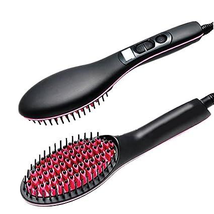 herryke Cepillo de pelo eléctrico, Ceramic alisador de cabello peine con pantalla LCD, Absolutamente