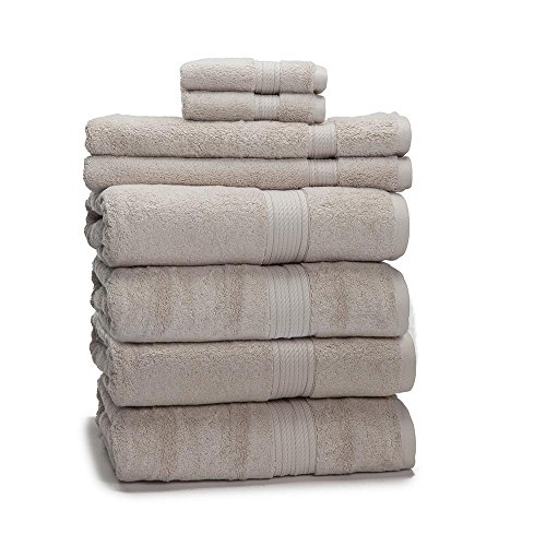900 GSM 8 Piece Towel Set - Luxurious 100% Egyptian Cotton, Heavy Weight & Absorbent - 4 Large Bath Towels 30x55, 2 Hand Towels 20x30, 2 Face Towels 13x13, -
