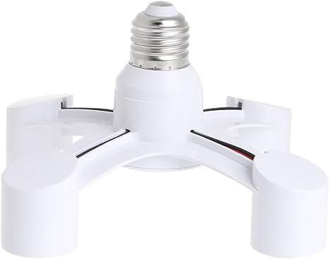 3 In 1 E27 To 3E27 Base Socket Splitter LED Light Lamp Bulb Adapter Holder White