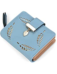 Women's Short Leather Wallet Leaf Bifold Card Coin Holder Small Purses Buckle Zipper Clutch--by Vodiu