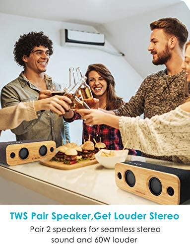 AOMAIS Life Bluetooth Speakers, 30W Loud Home Party Wireless Speaker, 2 Woofer & 2 Tweeters for Super Bass Stereo Sound, 100 Ft Bluetooth V5.0 and 12-Hour Playtime Subwoofer – Imitation Bamboo Panel 51KoN8Kv4OL