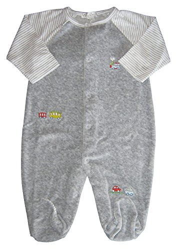 - Kissy Kissy Baby-Boys Infant Red Caboose Velour Footie-Gray-9 Months