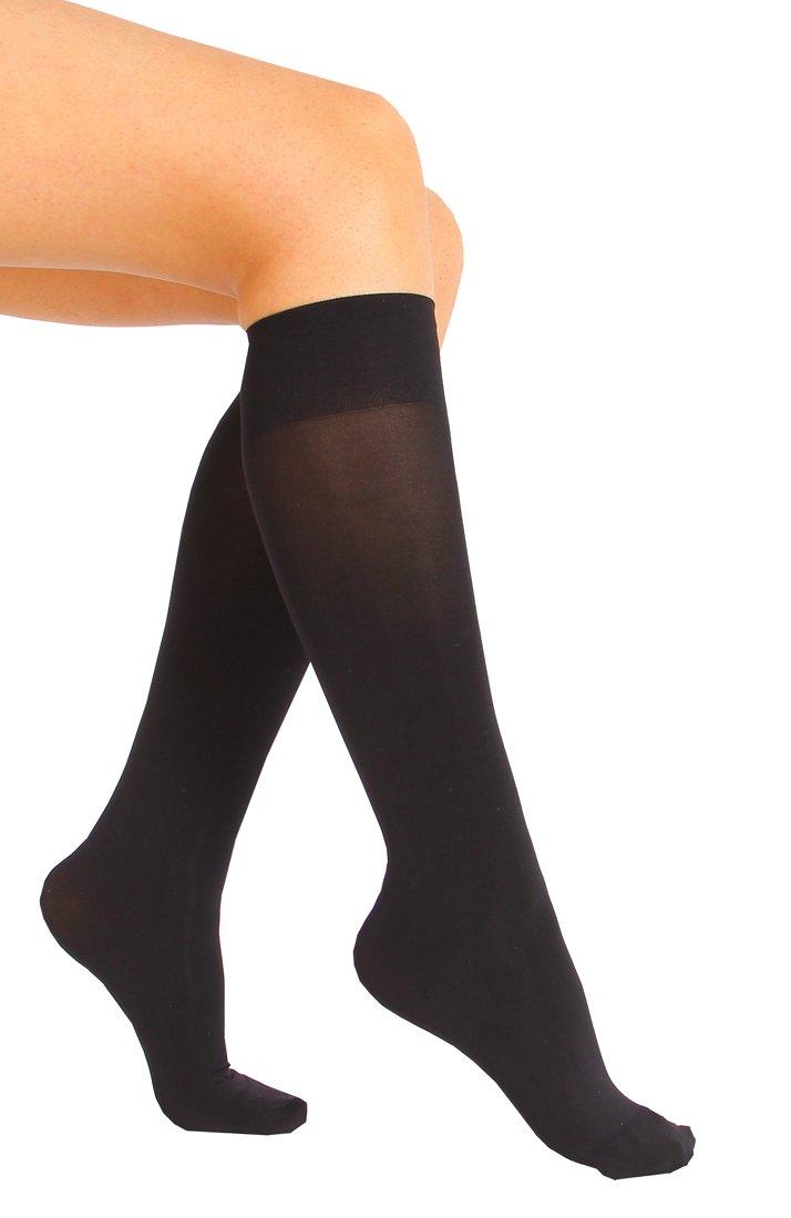 6 Pair Women Opaque Microfiber Stretchy Knee High Trouser Socks-black