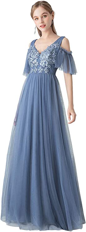 Old Hollywood Glamour Dresses Ever-Pretty Womens A-Line Cold Shoulder Appliqued Wedding Party Bridesmaid Dress 0745 $42.99 AT vintagedancer.com