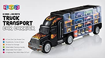 Play22 Toy Truck Transport Car Carrier - Toy Truck Includes 6 Toy Cars &  Accessories - Toy Trucks Fits 28 Toy Car Slots - Great Car Toys Gift for  Boys