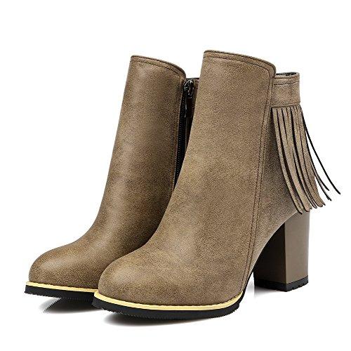 AllhqFashion Damen Rein Reißverschluss Rund Zehe Hoher Absatz Stiefel mit Fransig Kamel Farbe