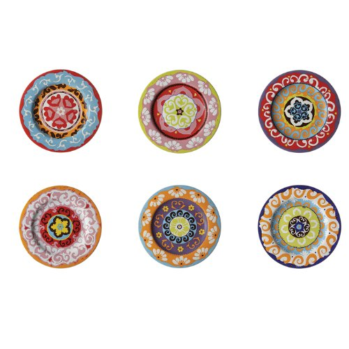 Rose & Tulipani Set von 6Salatteller verschiedene Farben Mediterraner Stil Nador Set von 6