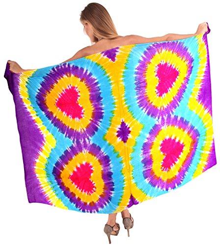 Tie Dye Fringe Scarf - LA LEELA Rayon Resort Scarf Deal Dress Sarong Tie Dye 78