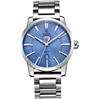 BENYAR Watches Classic Fashion Waterproof Date Blue Casual Sport Stainless steel Band Wrist Watch for Men (BLUE)