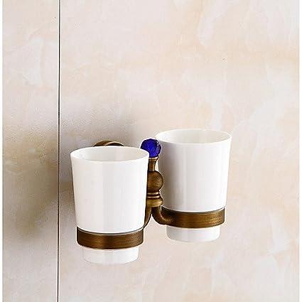 sltld dos Copa de cristal Cepillo de dientes titular Montado en la pared baño cepillo de