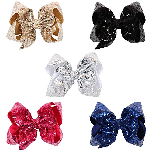 "Ncmama Baby Girls 8"" Boutique Sparkle Sequin Hair Bows Big A"
