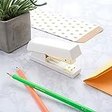 Zodaca [Pure White Design] Desk Stapler, 15 Sheets Capacity for Office / School / Home, White/Gold
