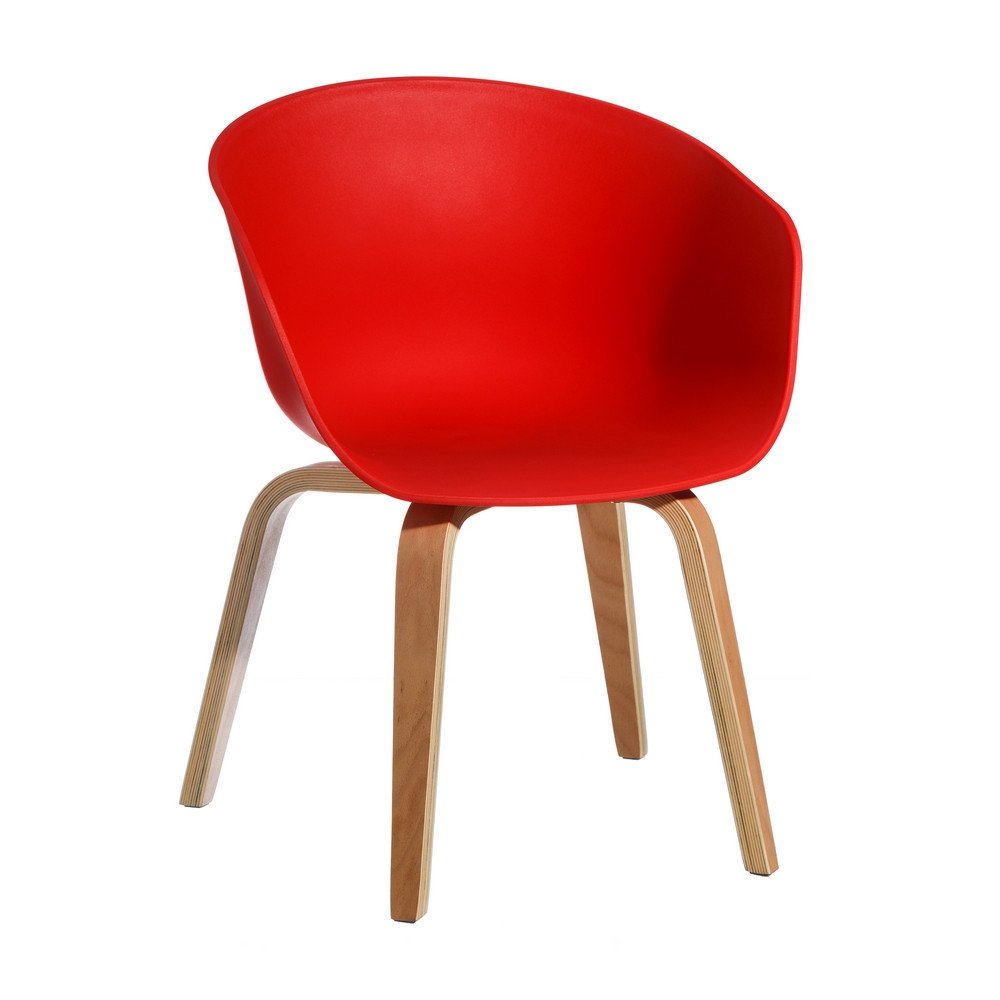 Chaise rouge pp-madera moderne salon 58 x 51 x 76 cm