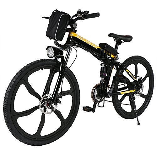 ANCHEER Folding Electric Mountain Bike with 26' Super Lightweight Magnesium Alloy 6 Spokes Integrated Wheel, Large Capacity Lithium-Ion Battery (36V 250W), and Shimano Gear