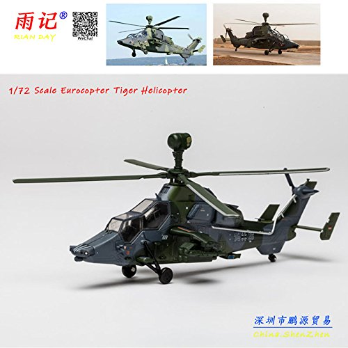 RIAN DAY 1/72 Scale Military Model Toys Eurocopter Tiger EC-665 Helicopter Diecast Metal Plane Model Toy for Collection/Gift