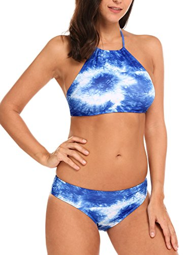 Ekouaer Womens Forest Leaves Printing High Neck Halter Bikini Set Swimsuit (Blue-2, XL)