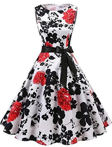 Gardenwed Women's Audrey Hepburn Rockabilly Vintage Dress 1950s Retro Cocktail Swing Party Dress White Red Flower 2XL]()