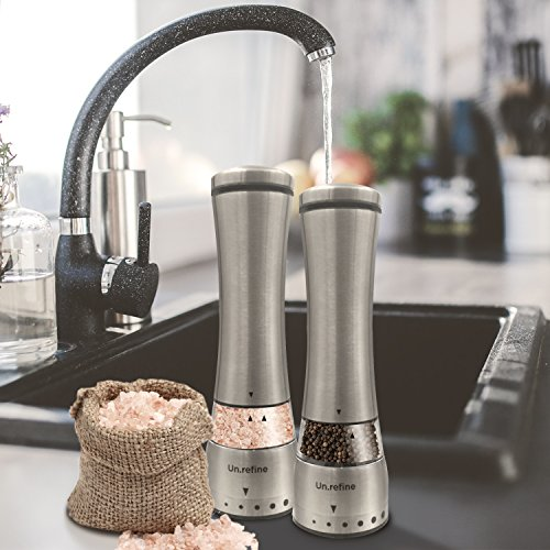 Todays Healthstyles UnRefine- Electric Salt&Pepper Mill Grinders- 2 battery operated mills- Fast motor stops spice clogging- Easy 1 Hand Grip- Makes the healthy change to pink salt in your diet easier by Today's Health Styles (Image #8)