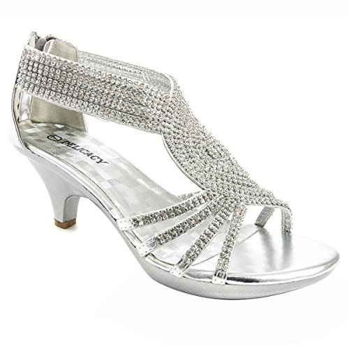 - V-Luxury Womens 32-ANGEL37 Open Toe Med Heel Wedding Sandal Shoes, Silver, 8.5 B (M) US