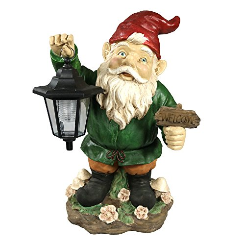 Sunnydaze Decor Frankie JR. The Solar LED Lantern Welcome Gnome, Green, 16 Inch (Lantern Gnome)
