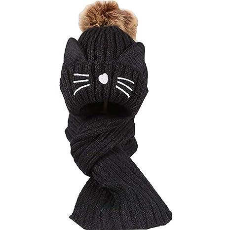 Queta Baby Kids - Gorra de Punto con diseño de Gato para bebés y niños Negro