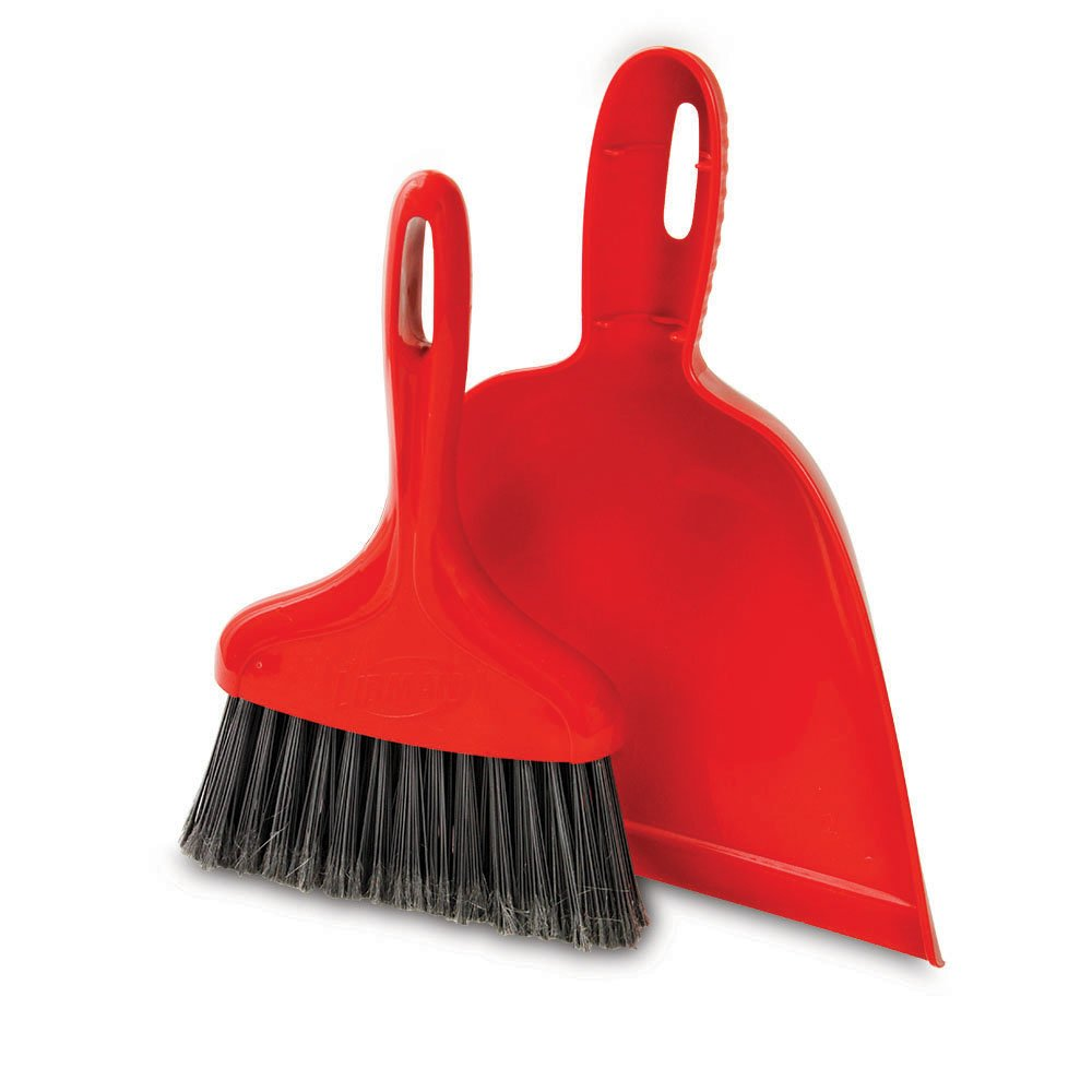 Libman Commercial 906 Dust Pan with Whisk Broom, Polypropylene, 10'' Wide pan, Red (Pack of 6)