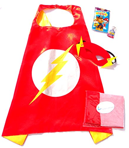 Three Piece Superhero Cape and Mask Sets with Bonus Prize for Pretend Play, Dress Up, and Parties (Flash Costume Child)