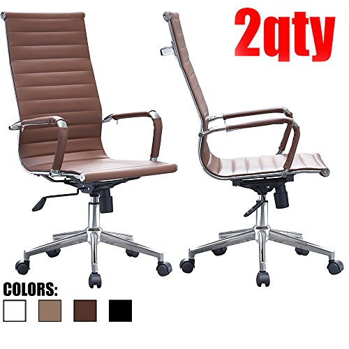 2xhome-set-of-two-2-brown-eames-modern-high-back-tall-ribbed-pu-leather-swivel-tilt-adjustable-chair