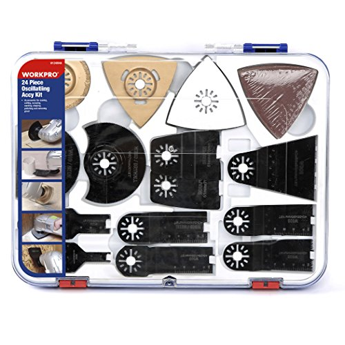WORKPRO 24-Piece Oscillating Accessory Kit Mixed Multitool Saw Blades for Sanding, Grinding and Cutting