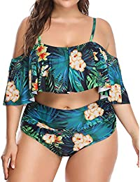 169559a3f384b Woman Plus Size Swimwear Two Piece Ruffle Off Shoulder Printed Bikini Top  with High Waisted Swimsuit