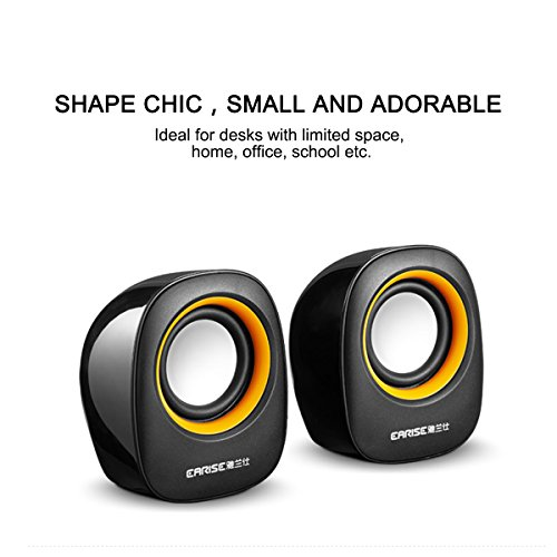 Earise AL-101 3.5mm Mini Computer Speakers Powered by USB Black by Earise (Image #1)