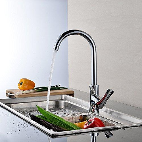 CZOOR Küchenarmaturen Poished Messing Badezimmer-Mischer-Kalt- und Warmwaschtischarmaturen Einhand-Loch-Wannen-Pull-Out-Deck montiert Tap