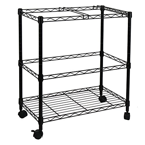 Oceanstar Portable 2-Tier Metal Rolling File Cart, Black (Rolling File Folder)