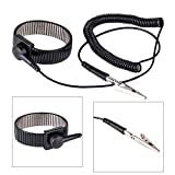 WILLAI Black Anti Static Ground Wrist Strap Band Adjustable ESD Metal Bracelet with Alligator Clip For Electronics Repair Work Tools