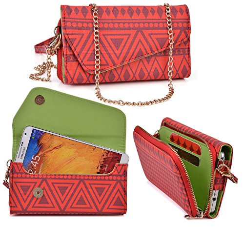 Tribal Mayan Micromax A106 Unite 2 Case Wallet Clutch | Red Racer + Wristlet and Crossbody Chain & Nextdia Cable Tie (Micromax A106 Unite 2 compare prices)