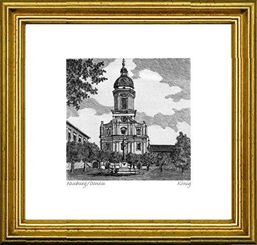 (Kunstverlag Christoph Falk Single-Colored Hand-Crafted Etching Neuburg/Donau, Hofkirche mit Säule (Germany) by König in a Gold Frame, Graphics, Art Design, Art Print )