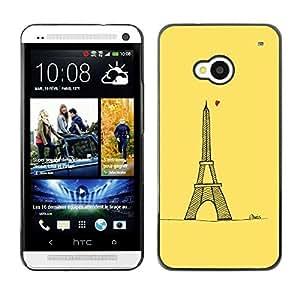 FECELL CITY // Duro Aluminio Pegatina PC Caso decorativo Funda Carcasa de Protección para HTC One M7 // Love Yellow Paris Eifel Tower Tour Heart
