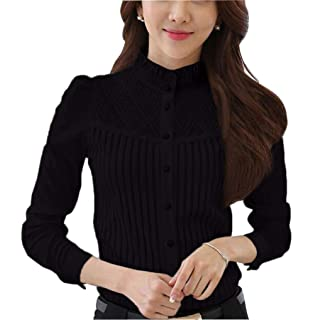 DPO Women s Vintage Collared Pleated Button Down Shirt Long Sleeve Lace  Stretchy Blouse 68e904420