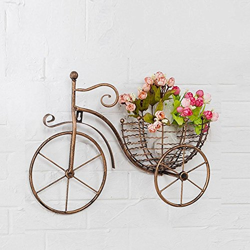KSUNGB Flower Stand Wall Hanging Creative Indoor Bicycle Retro European Living Room Bedroom Balcony Hotel Bar Cafe Stamens Green Plants Suspension Glass Ceramic Tile Lron Art 43 32cm , Gold (Iron Tile Wall)