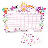 Floss & Rock Reward Chart with Dry Erase Pen and Stickers (Fairy Unicorn)