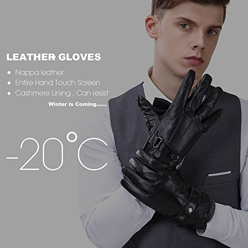 Mens Luxury Touchscreen Italian Nappa Genuine Leather Winter Warm Gloves for Texting Driving Cashmere Lining Blend Cuff (2XL-9.8'', Black) by FLY HAWK (Image #2)
