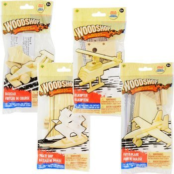 Woodshop DIY Wood Model Kits - Fighter Plane, Race Car, Helicopter (and Sailboat OR Pirate Ship) Kids Set of 4 -