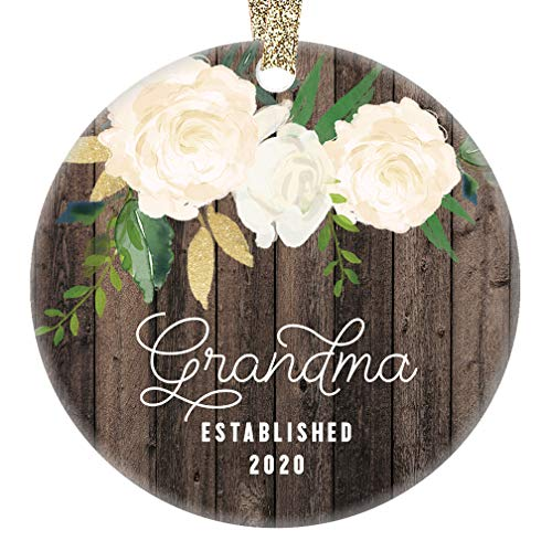 New Grandma Christmas Ornament 2020 Pregnancy Announcement Baby Due 2020 Grandmom Grandmother Surprise Keepsake Rustic Present 3