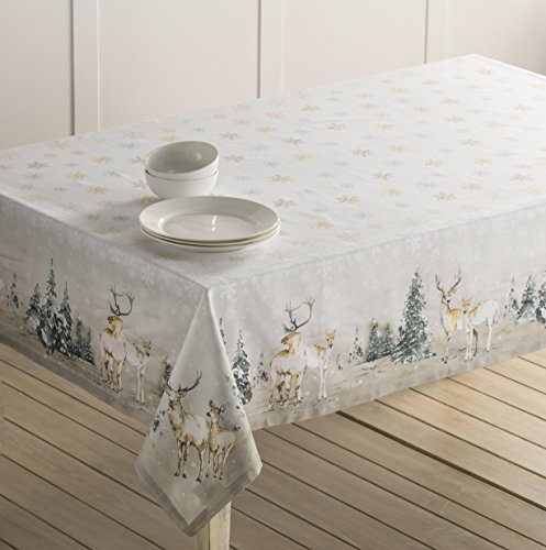 """Maison d' Hermine Deer in The Woods 100% Cotton Tablecloth for Kitchen Dinning Tabletop Decoration Parties Weddings Thanksgiving Christmas (Rectangle, 60 Inch by 108 Inch) - Designed in Europe 100% Cotton & Machine washable. Package Includes : 1 Tablecloth Our collections are featured in Elle Decor and House Beautiful for """"Best Thanksgiving Tablecloth"""". - tablecloths, kitchen-dining-room-table-linens, kitchen-dining-room - 51KoRNxIPvL -"""