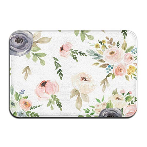 Welcome Mat Watercolor Floral Blush Pink Greens Pattern Waterproof Coral Wool Bathroom Mat for Dog